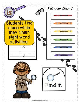 Sight Word Detectives File Folder Activity - Dolch Pre-Primer Word - Is