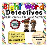Sight Word Detectives File Folder Activity - Dolch Pre-Primer Word - Me