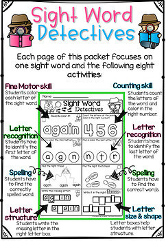 Sight Word Printables (Detective theme: First Grade Edition)
