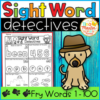 Sight Word Printables (Detective theme: Fry Words 1-100)