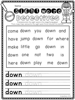pre primer sight words worksheets pdf