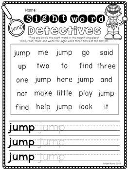 Sight Word Detectives - Kindergarten Pre-Primer Sight Word Worksheets