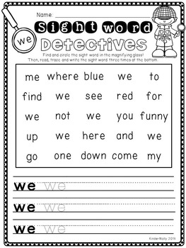 sight word detectives kindergarten pre primer sight word worksheets. Black Bedroom Furniture Sets. Home Design Ideas