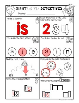 Sight Word Printables (Detective theme: Pre-Primer Edition)