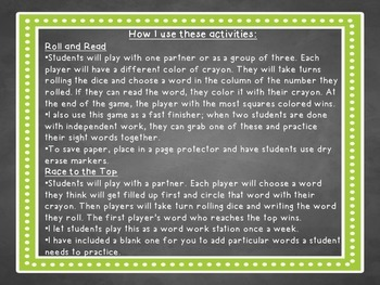 Sight Word Dice Games (1st grade)