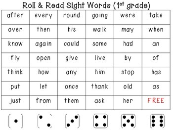 Sight Word Dice Games (1st grade)