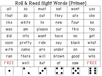 Sight Word Dice Games (Primer)