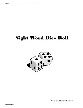 Sight Word Dice Roll