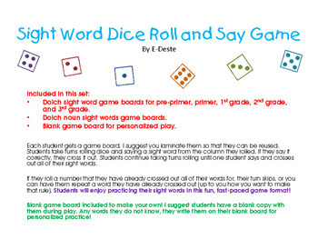 Sight Word Dice Roll and Say Game