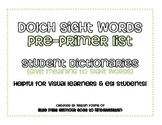 Sight Word Dictionary {Dolch Pre-Primer}