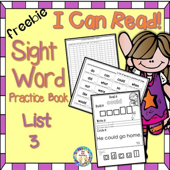 Sight Word (Dolch) Practice Book Sample ~ Free