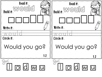 Sight Words  Practice Books –  lists 1-5