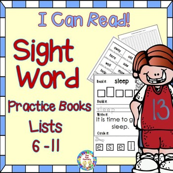 Sight Words  Practice Books – Bundled lists 6-11