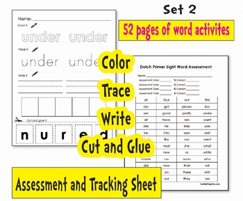 Sight Word Work Dolch Primer K - 1 Centers Homework Flash Cards & Tracking