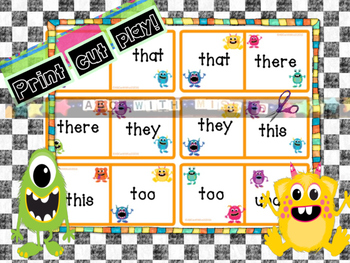 Sight Word Domino Game! Monster-themed Literacy Center with Dolch Primer words
