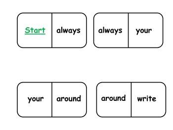 Sight Word Dominoes 2nd Grade