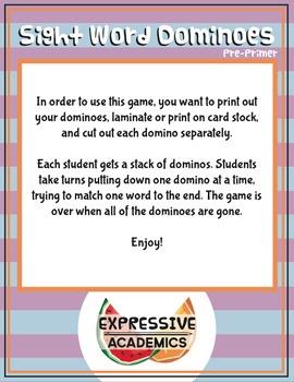 Sight Word Dominoes Game - Pre-Primer