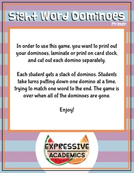 Sight Word Dominoes Game - Primer