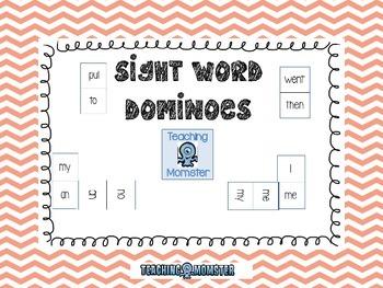Sight Word Dominoes --Peach Chevron
