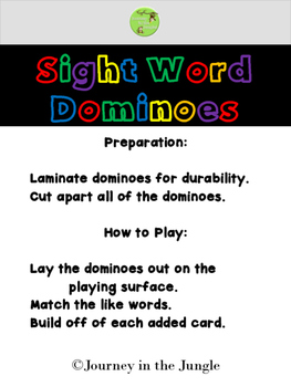 Sight Word Dominoes (Pre-Primer) - Freebie