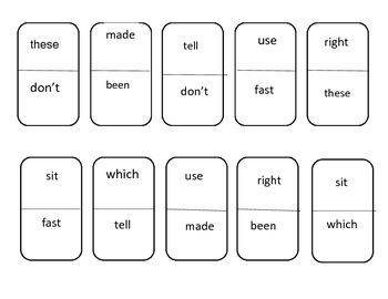 Sight Word Dominos