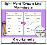 Sight Word Draw a Line Worksheets (Words 101-150 from Edmark Level 1 Word List)