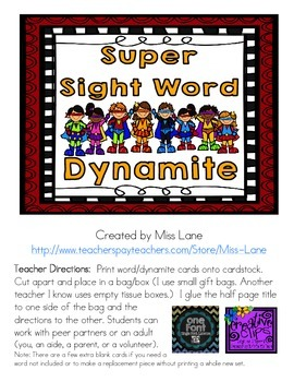 Sight Word Dynamite Game