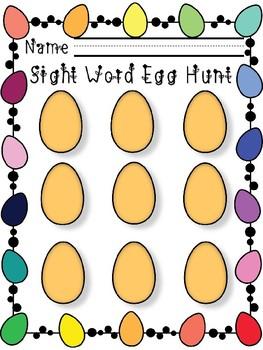 Sight Word Easter Egg Hunt Recording Sheet