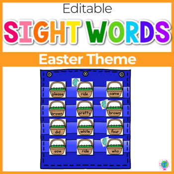 Sight Word Editable Hide & Seek Pocket Chart Cards | Easter Theme