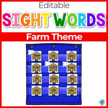 Sight Word Editable Hide & Seek Pocket Chart Cards | Farm Theme