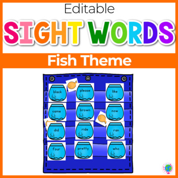 Sight Word Editable Hide & Seek Pocket Chart Cards | Fishbowl Theme
