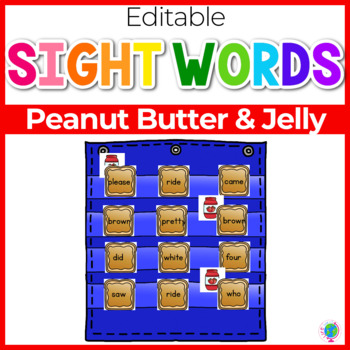 Sight Word Editable Hide & Seek Pocket Chart Cards | Peanut Butter Theme
