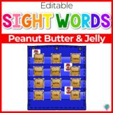 Sight Word Editable Hide & Seek Pocket Chart Cards | Peanut Butter Theme