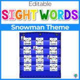 Sight Word Editable Hide & Seek Pocket Chart Cards | Snowman Theme