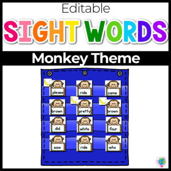 Sight Word Editable Hide & Seek Pocket Chart Cards | Zoo Theme