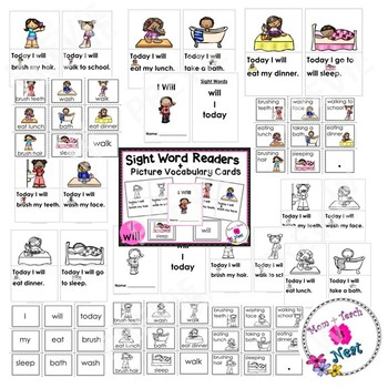 Sight Word Emergent Reader & Vocabulary Cards: I Will (I, will, today)