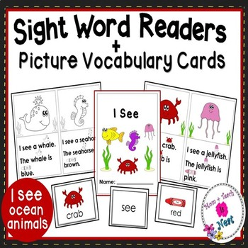 Sight Word Emergent Reader Book & Vocabulary Cards: Ocean Animals (I,see,a)