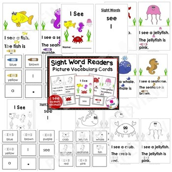 Sight Word Emergent Reader & Vocabulary Cards: Ocean Animals (I,see,a)