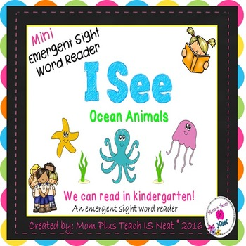 Sight Word Emergent Reader Mini Book & Vocabulary Cards: Ocean Animals (I,see,a)