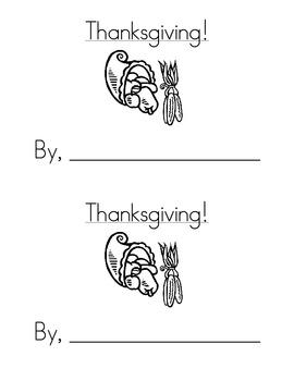 Sight Word Emergent Reader: Thanksgiving! (no, go)