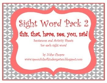 Sight Word Emergent Reading Pack 2