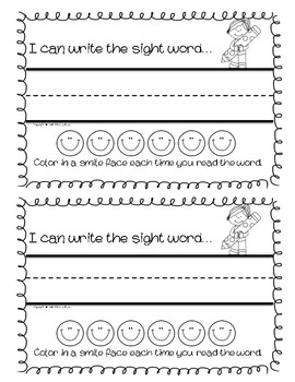 Sight Word Exit Slip