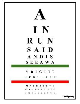 Sight Word Eye Chart FREEBIE