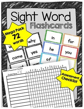 Sight Word FLASH CARDS - 72 Mega Pack - Color & BW - Asses