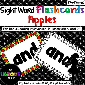 Sight Word FLASHCARDS- Apples (Pre-Primer)
