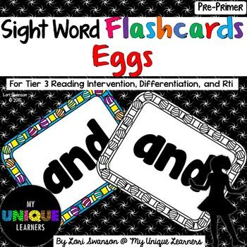 Sight Word FLASHCARDS- Eggs (Pre-Primer)
