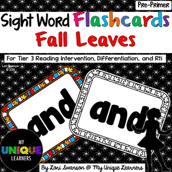 Sight Word FLASHCARDS- Fall Leaves (Pre-Primer)