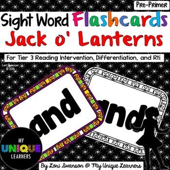 Sight Word FLASHCARDS- Jack o' Lanterns (Pre-Primer)