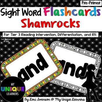 Sight Word FLASHCARDS- Shamrocks (Pre-Primer)