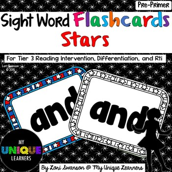 Sight Word FLASHCARDS- Stars (Pre-Primer)